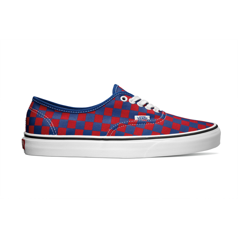 vans authentic checkerboard red blue