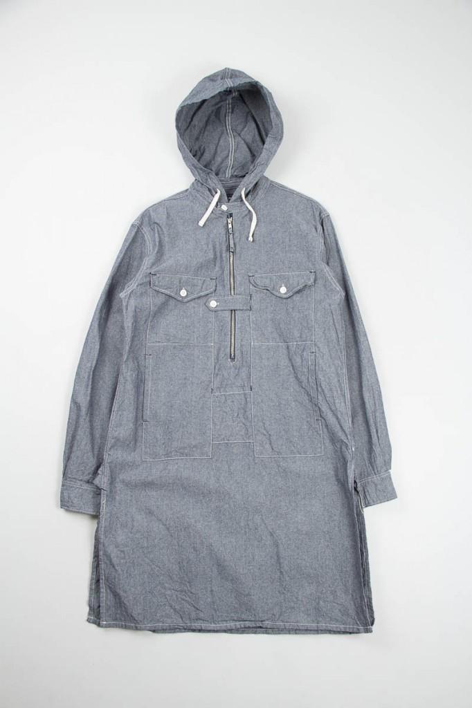 EG Blue Chambray Hooded Long Bush Shirt