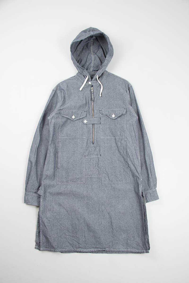 EG Blue Chambray Hooded Long Bush Shirt