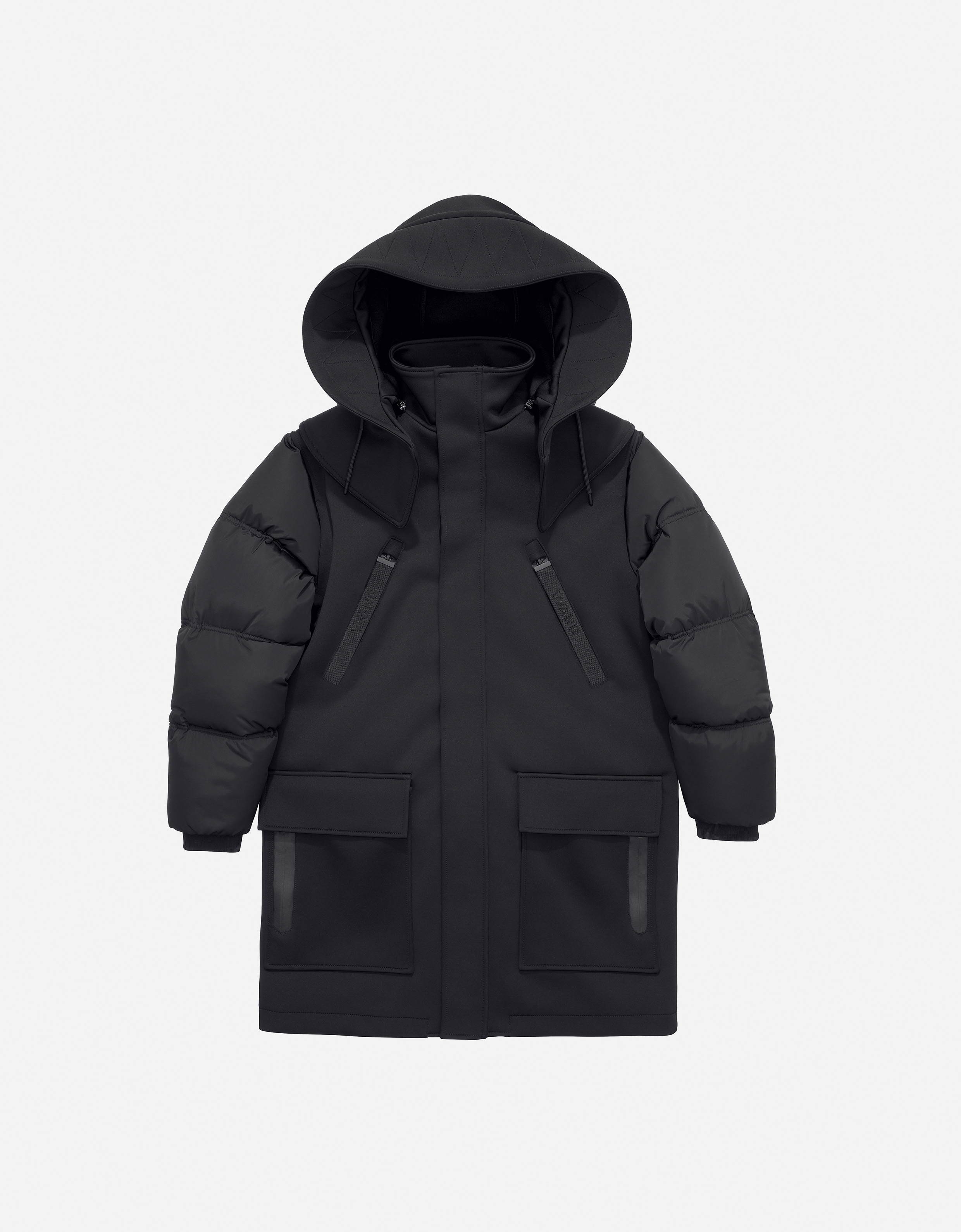 Alexander-Wang-X-HM-puffed-sleeve-hooded-coat-black