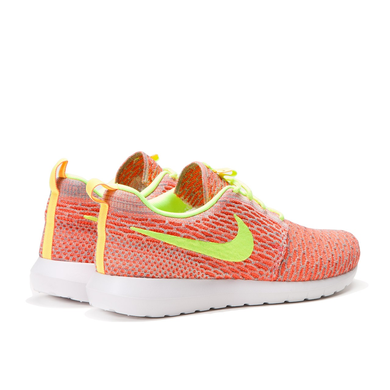 new product 27cbc ba757 nike flyknit roshe run yellow orange