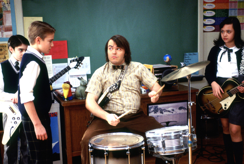 SCHOOL OF ROCK, Joey Gaydos Jr., Kevin Clark, Jack Black, Rebecca Brown, 2003, (c) Paramount/courtesy Everett Collection film still