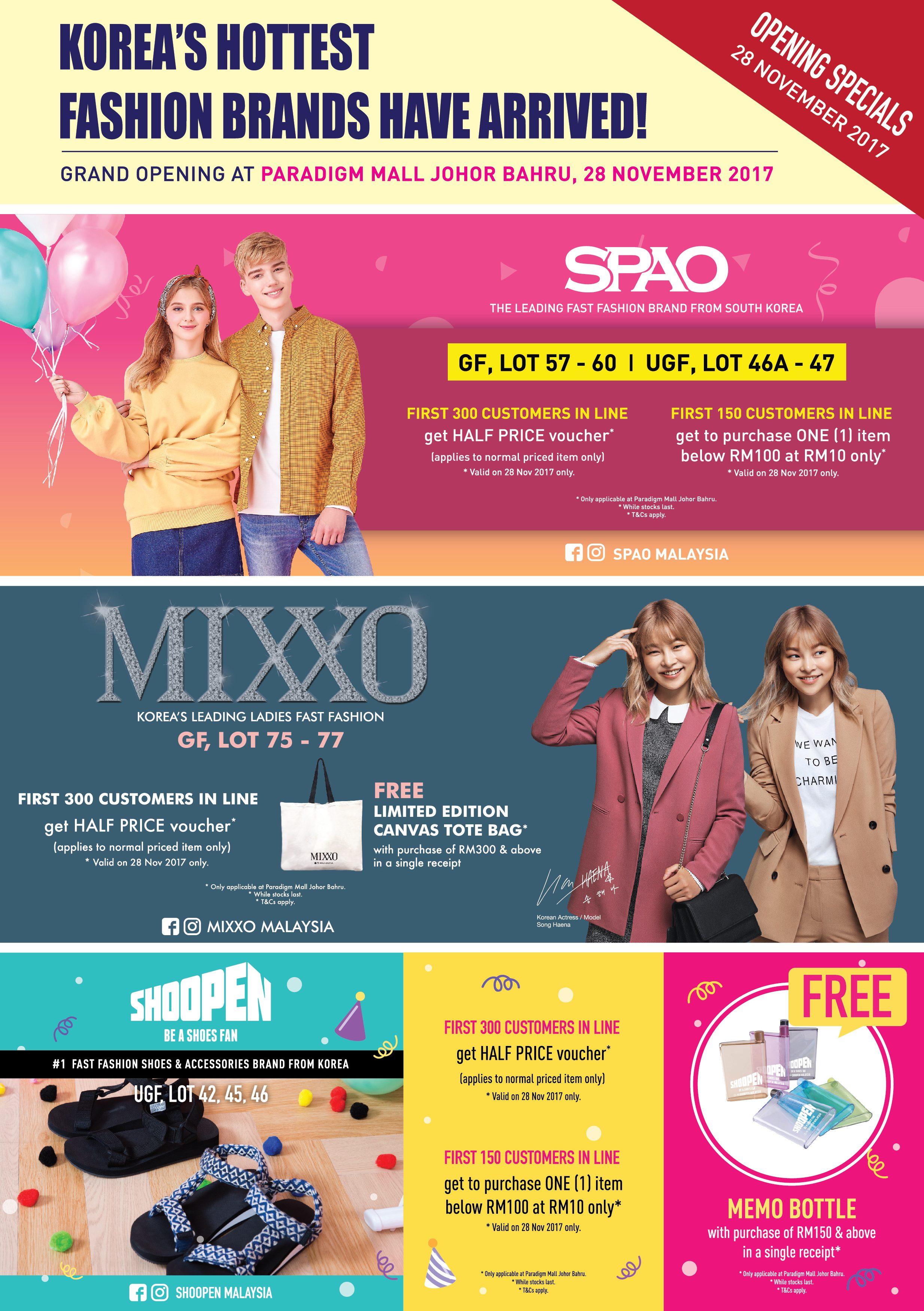 Top Korean Fashion Brands Hitting Up Paradigm Mall in Johor